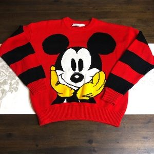 Mickey and Co red Mickey sweater stripped arms
